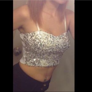 Sequined crop top from body central. Size small